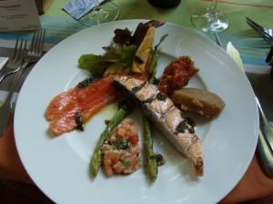 Trio of Salmon with tomato chutney and spiced eggplant puree.  Logis de la Cadene in Saint-Emilion