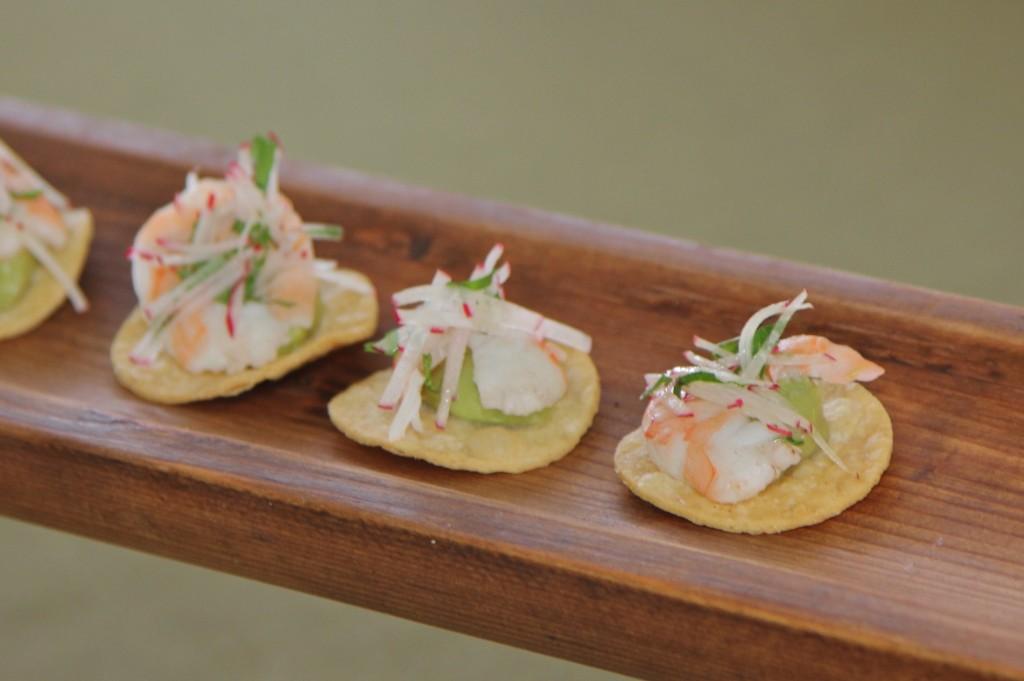 Shrimp on creamy guac by winerychefs.com