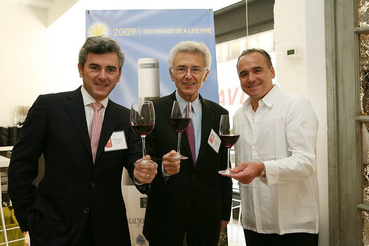 Franck, Georges Duboeuf with Chef Jean-Georges Vongerichten. Courtesy Vins Duboeuf